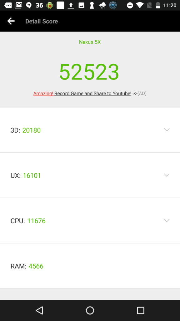 Nexus5xのベンチマーク