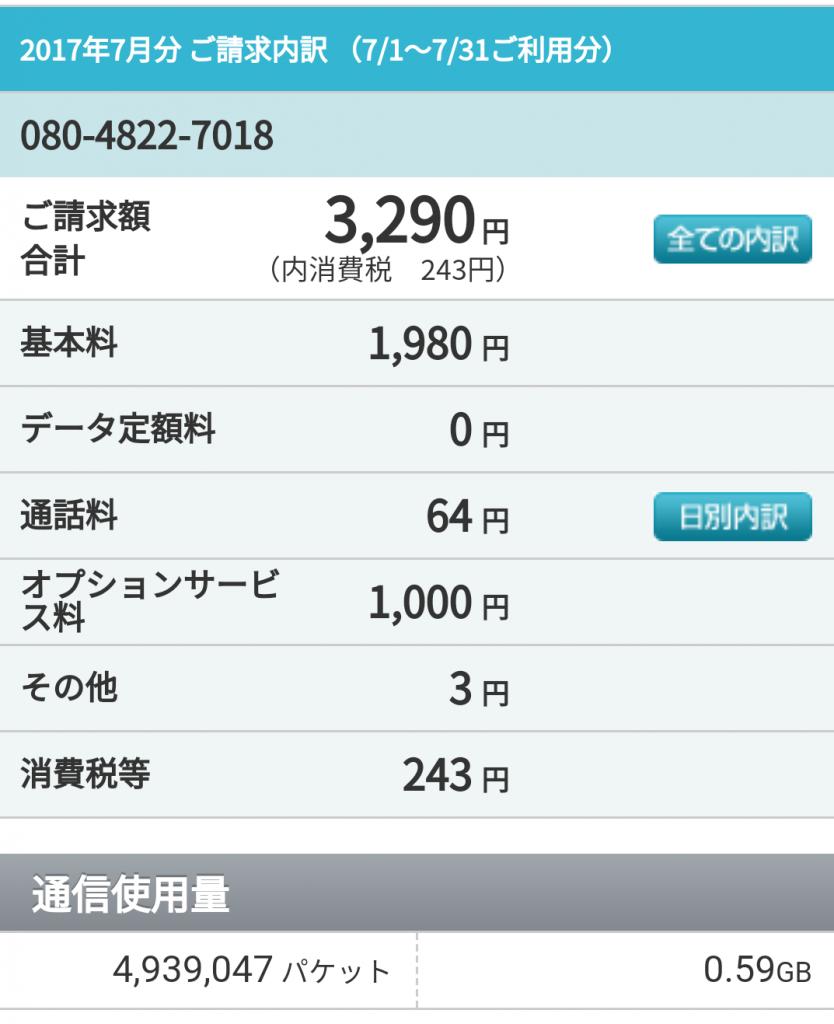 ワイモバイル料金7月内訳