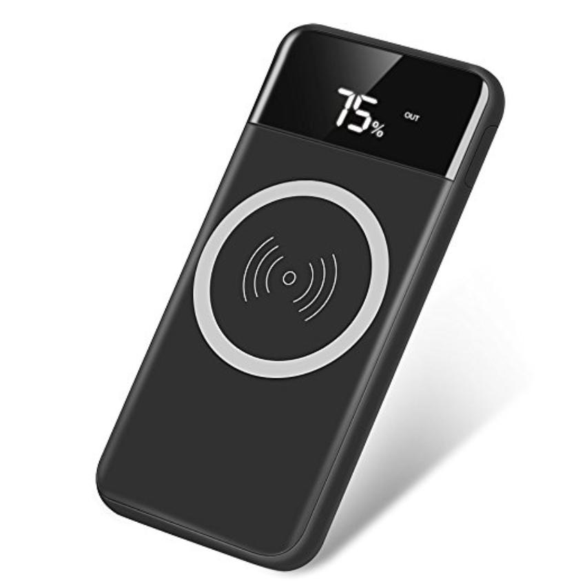 モバイルバッテリー ワイヤレス 充電 Qi 10000mAh 大容量 軽量 2USBポート 急速充電 スタンド機能付