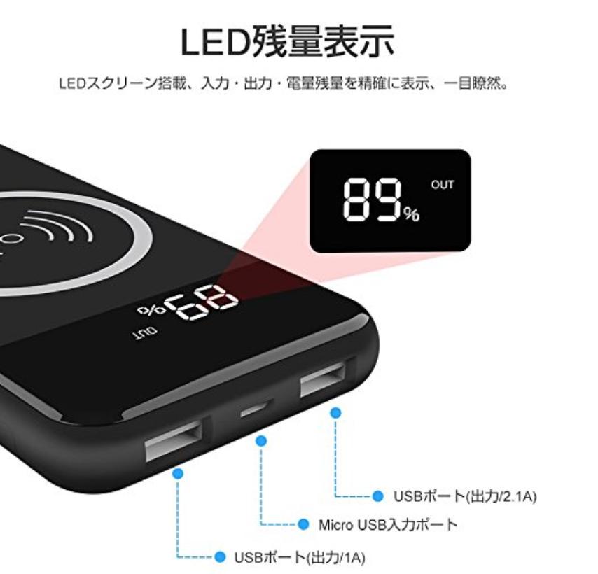 モバイルバッテリー ワイヤレス 充電 Qi 10000mAh 大容量 軽量 2USBポート 急速充電 スタンド機能付の3