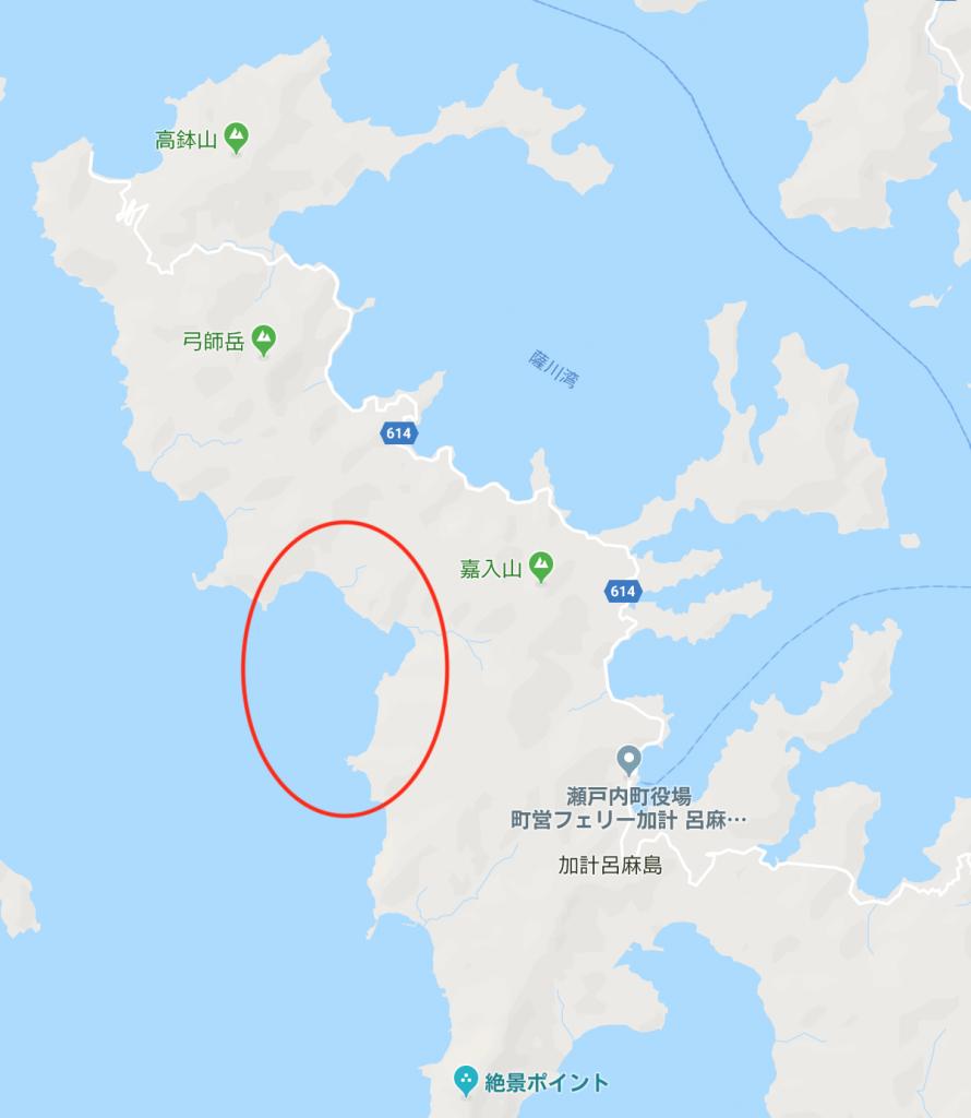 加計呂麻島の南側