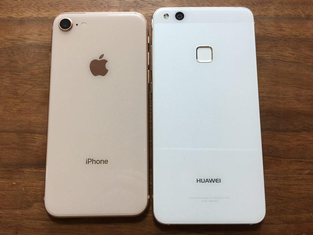 iPhone8とP10 lite2