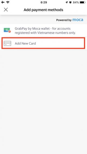 Grabのクレジットカードの登録方法