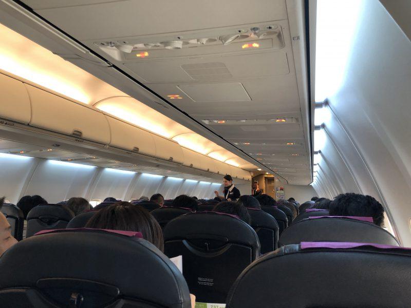 伊丹から奄美大島のJALの機内