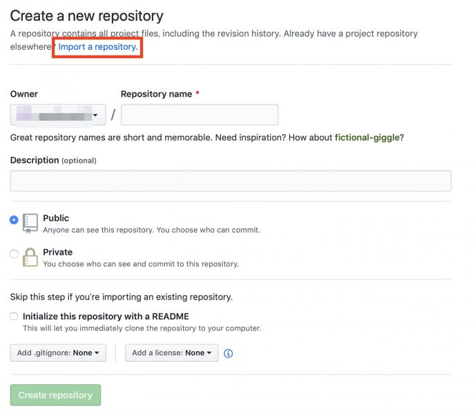 GitHub公式にて新規リポジトリの作成ページ