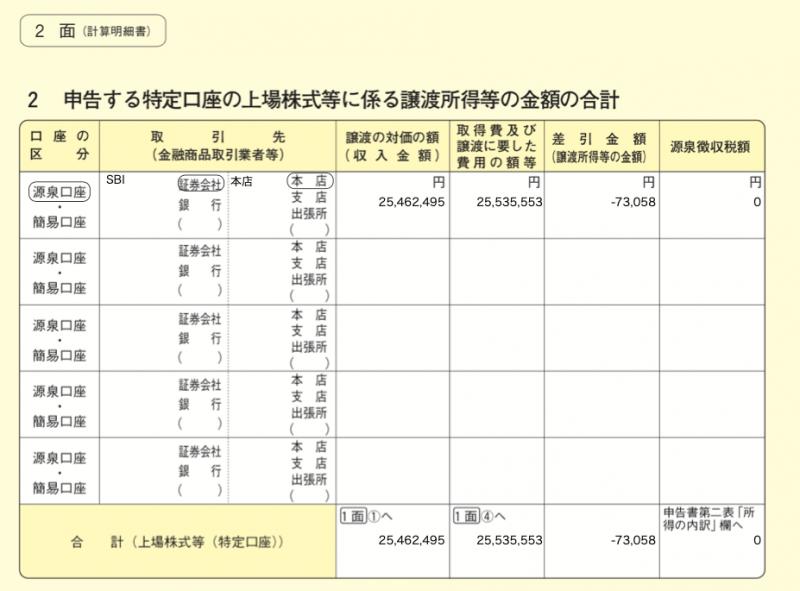株式等に係る譲渡所得等の金額の計算明細書の2面