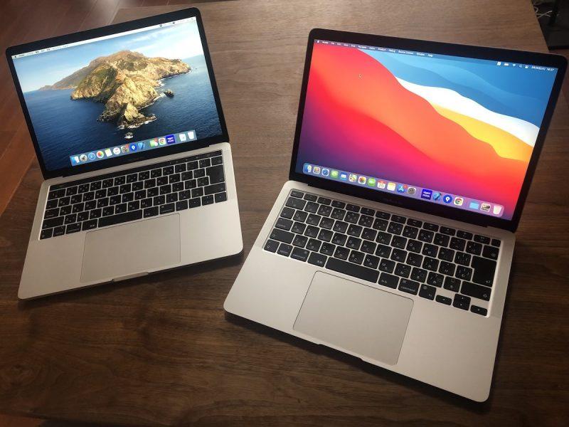 M1搭載のMacBook Airと2019年モデルのMacBook Pro